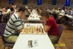 For a woman grandmaster win over male grandmaster – is a serious luck. Tournament in Chess 960 in Mainz 2004 was my biggest success in this meaning: in same open tournament I managed to win against following grandmasters Potkin, Kritz, Baklan, Landa. On the photo I play with Konstantin Landa.